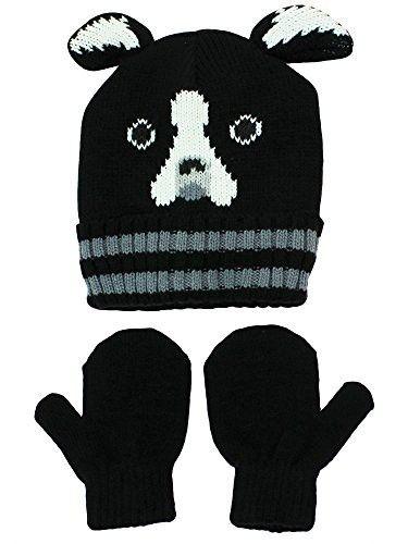 New Boys Critter Knit Hats /& glove Mitten set Cyclops Bulldog Reindeer Bear