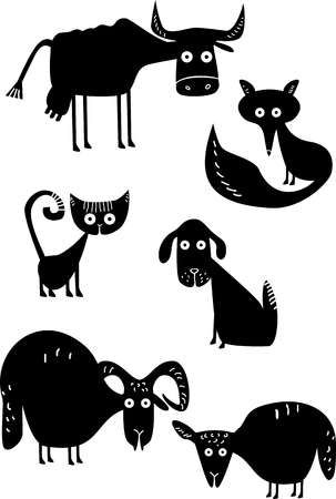 25+ Clipart Black And White Animals Silhouette
