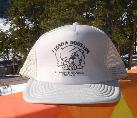 11285e13389355 80s vintage foam trucker mesh hat DOG'S LIFE eat screw