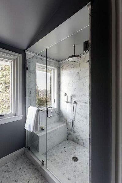 Top 70 Best Marble Bathroom Ideas Luxury Stone Interiors Window In Shower Master Bathroom Shower Bathroom Remodel Shower