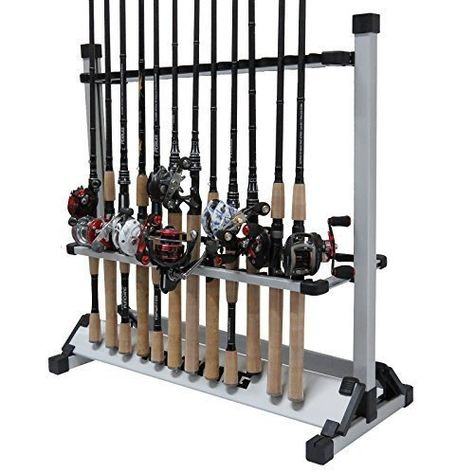 Fishing Rod Holder Aluminum Alloy Portable 12 Vertical Rack Boat Home Garage