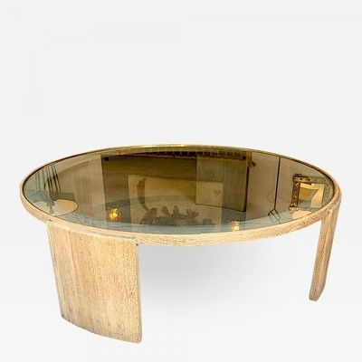 Jacques Adnet Very Large Round Cerused Oak Coffee Table Coffee Table Tables Galerie Andre Hayat In 2020 Coffee Table Oak Coffee Table Cerused Oak