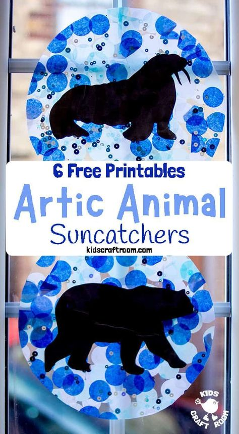 This Arctic Animal Suncatcher Craft is a gorgeous Winter craft for kids. Hang them in a window or from the ceiling and they look super pretty when the light shines through them. free printable polar animal silhouettes to choose from. Winter Activities For Kids, Winter Crafts For Kids, Winter Crafts For Preschoolers, Winter Preschool Activities, Animal Activities For Kids, Winter Thema, Artic Animals, Animal Crafts For Kids, Polar Animals Preschool Crafts