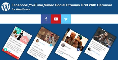 Facebook,YouTube Channel,Vimeo Social Streams Grid With Carousel for WordPress | Codelib App