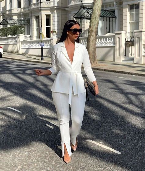 White Split Front Flared Trousers - Florie