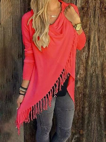 Casual Long Sleeve Asymmetrical Fringed Ruched T-Shirt