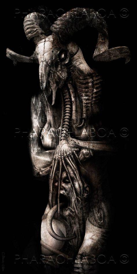 Giger Inspired Biomechanical Disturbing Demon Ram Monster by PharaohsDreamMuseum on Etsy Dark Art Paintings, Dark Artwork, Dark Art Drawings, Hr Giger Art, Satanic Art, Evil Art, Horror Artwork, Demon Art, Dark Tattoo