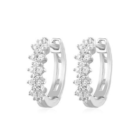 4aa1232c0 0.24 Ct Round Natural Diamond Huggie Hoop Earrings Solid 10k White Gold  Ladies #CaratsForYou #Huggie #EngagementWeddingAnniversaryPromiseValentine