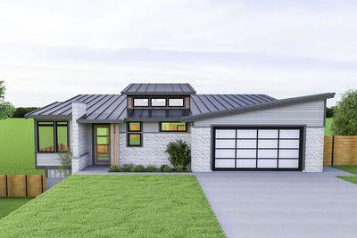 Plan 280059jwd Modern Ranch Home Plan For A Rear Sloping Lot In 2020 Sloping Lot House Plan Ranch House Plans Mid Century Modern House Plans