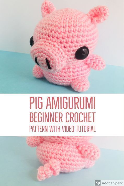 This cute amigurumi pig is great for crochet beginners! | Crochet