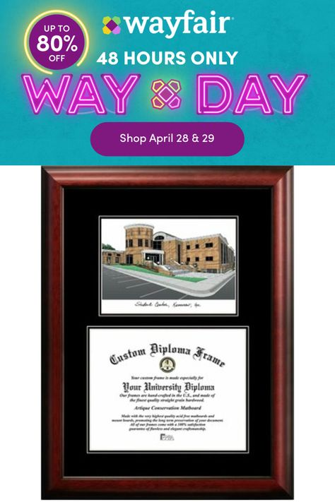 """Red Barrel Studio® Lithograph and diploma opening in a Satin Mahogany Frame, double black matted. Everything you need to insert your document and hang the frame is included. 