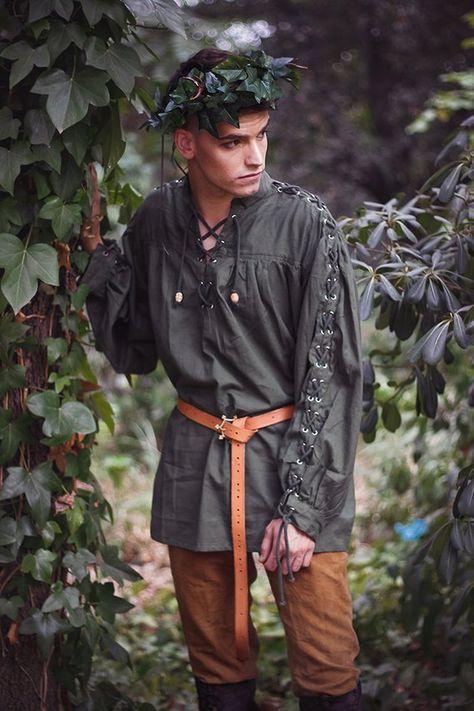 Men shirt Renaissance peasant Cotton Shirt - Steampunk Pirate Fantasy Medieval Renaissance Costume Cosplay Cotton shirt with strings througout lacing on