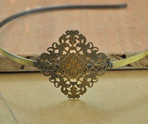 4 pcs Antique Bronze Headband Hair Band  with filigree