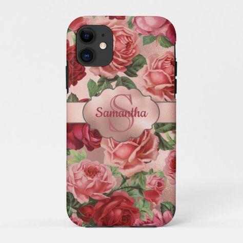 Chic Elegant Vintage Pink Red Roses Floral Name Case-Mate iPhone Case