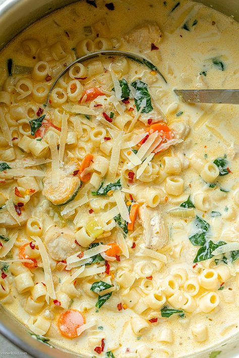Creamy Chicken Pasta Soup Recipe - - Nutritious, easy and big on flavor, this delicious chicken pasta soup tastes like you spent all day in the kitchen, but it's done in less than 30 minutes! Chicken Pasta Soup Recipe, Creamy Chicken Pasta, Chicken Recipes, Homemade Chicken Soup, Chicken Chili, Cooking Recipes, Healthy Recipes, Health Soup Recipes, Soup And Sandwich