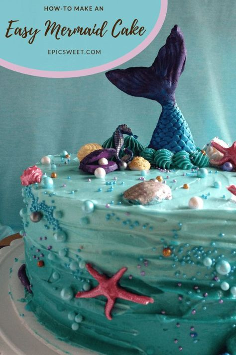This mermaid cake is perfect for an under the sea party or a mermaid birthday party. It's simple to make with minimal piping skills needed and some super easy fondant work. It's a good cake to try if you don't do a lot of cake decorating. #howto #mermaidcake #underthesea