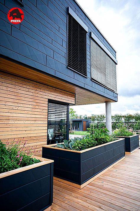 Fassade Und Hochbeet Mit Siding X In P 10 Anthrazit In 2020 Facade House Architecture House