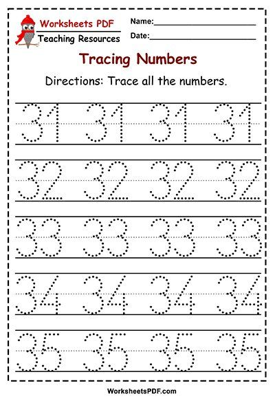 10+ Number tracing worksheets 1 50 Education