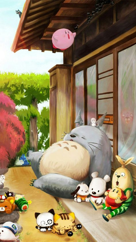 Dreamy Cute Lovely Totoro Window Outside iPhone 8 Wallpapers