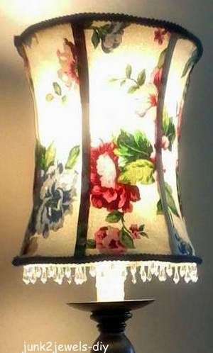 Olde Country Cottage No Sew Lamp Shade Recover Tutorial In 2020 Lamp Shade Diy Lamp Shade Small Lamp Shades