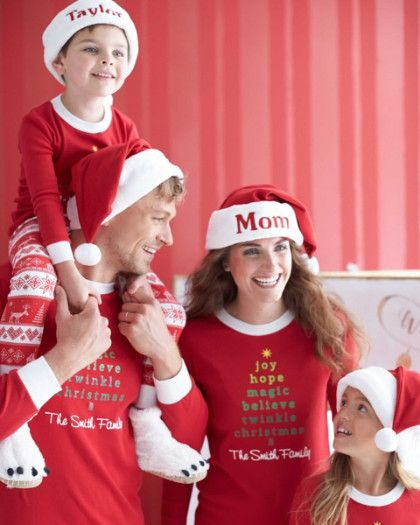 Adults Personalized Nordic Pj's - exclusively ours - Everything you love about Christmas, all on one pair of comfy pj's. Good wishes form a tree on the top, and a snowflake-and-reindeer print decorates the bottoms. Machine Wash.