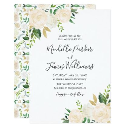 Neutral Watercolor Floral Wedding Card Wedding Invitations Cards