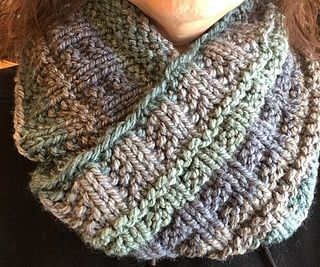 This is my 3rd Wind Cowl using Caron Tea Cakes  Free pattern