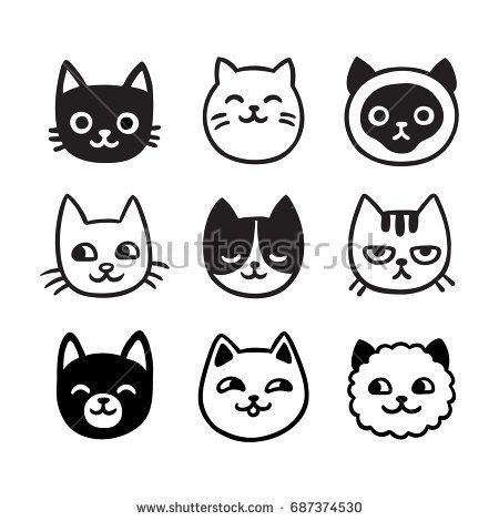 Cute Cartoon Cat Doodle Set Funny Vector Icons Hand Drawn Sketch Style Cat Characters Faces Cat Doodle Cat Face Drawing Cat Icon