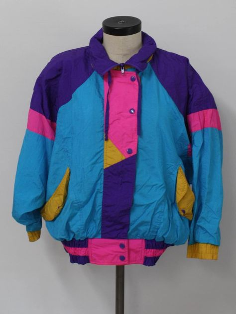Vintage jacket: -db sport- womens teal blue background with hot pin