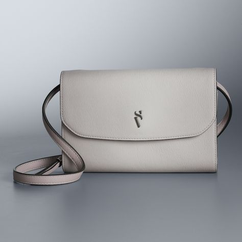 Simply Vera Vera Wang Signature Envelope Crossbody Bag, Women's, Dark Grey