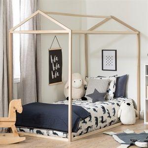 Maisonnette Naturel Lit Simple House Beds For Kids Kids Bed Frames House Beds