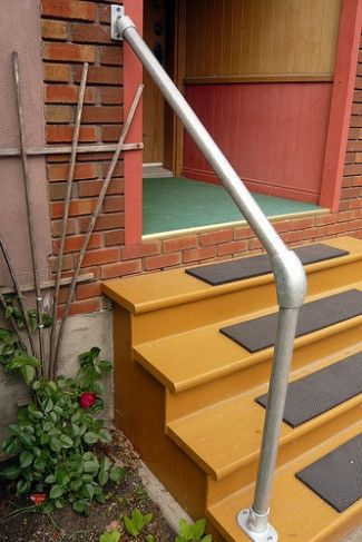 Replacing Old Handrail With A Hybrid Style Simple Rail Handrail | Diy Handrails For Outdoor Stairs | Wood | Front Porch Railing Ideas | Porch | Stair Stringers | Pipe