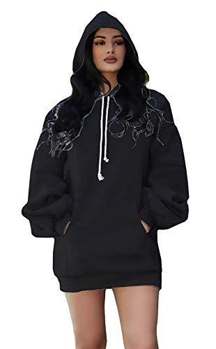 Damen Langarm Locker Hoodie Kapuzenpullover Cool Girl Sport Pulli Jacket Sweater
