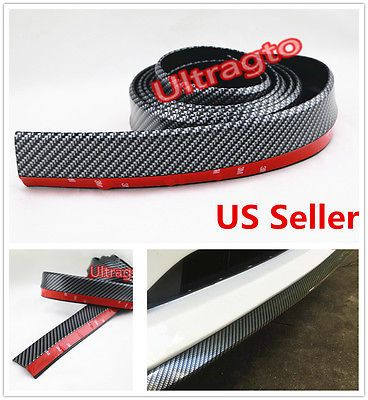 "2/""x98/"" Carbon Fiber Front Bumper Lip Splitter Body Spoiler Valence Chin Trim"