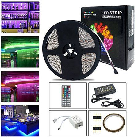 Neraon 16 4ft 5m Led Strip Lights Kit 12v Dc Dimmable Flexible Light Strip 300 Leds Smd 5050 Waterproof Rgb Led Strip Lighting Rgb Led Strip Lights Home Diy