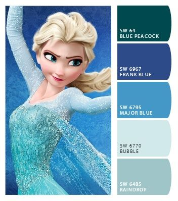 Colors for Alyssas bedroom from the Frozen movie  Cheyenne stuff