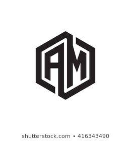 Am Initial Letters Loop Linked Hexagon Monogram Logo Monogram