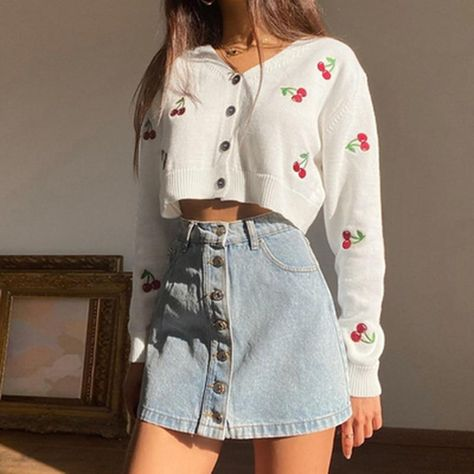 V Neck Long Sleeve Preppy Style Cherry Print Sweater - L / white