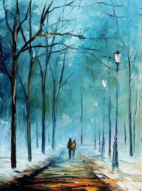 Foggy stroll ~ by Leonid Afremov