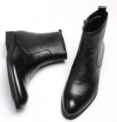 Mens real Leather Chelsea High Top Pointed Toe Shoes Dress Formal Ankle Boots sz