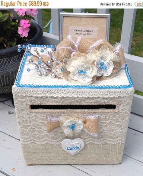 Burlap Wedding Card Money Box Blue By Alltstcardbo
