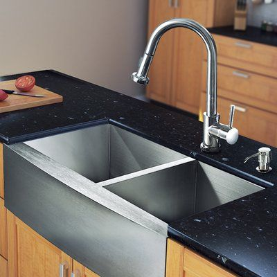 vigo all in one 33 l x 22 w double basin farmhouse kitchen sink rh pinterest ie