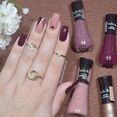 Esmaltes usados: Vinhedo Paqueca doce Determinada Mística  Todos da Vult  By: @esmalteecor        Trend Trendy Nails Makeup Beauty Party Style