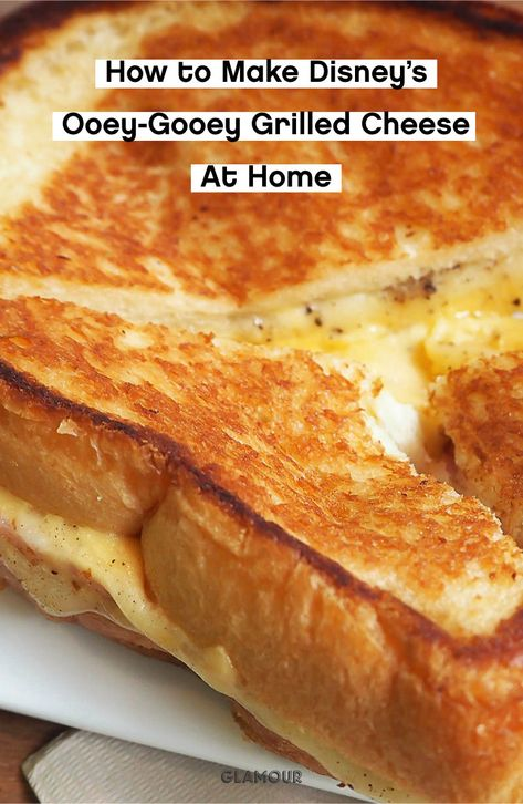 Make Disney's popular grilled cheese at home with just a few simple ingredients.   #workfromhome #wfhlunch #lunchrecipes #grilledcheese #disneyfoods