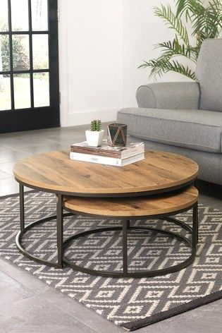 Oak Effect Bronx Round Coffee Nest Of Tables Modern Coffee Table