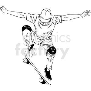 Black And White Skateboarder Doing Ollie Vector Illustration