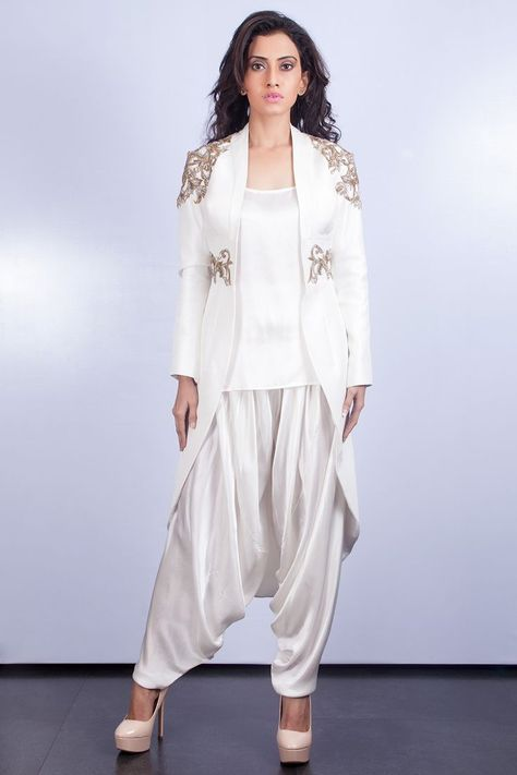 Embellished Jacket with Top and Dhoti Pant