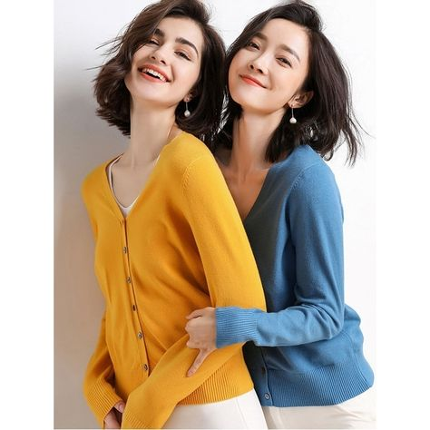 Stylish Simple 12 Colors V-Neck Single-Breasted Long Sleeve Knitwear - CAMEL, M