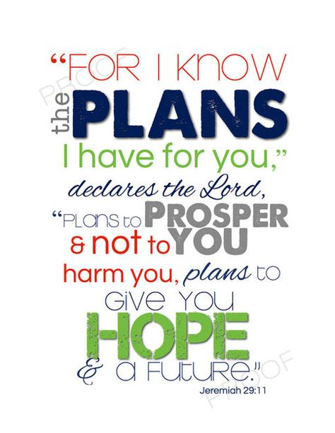 Bring the Word of God into your child's room with this beautiful, popular scripture from Jeremiah 29:11. This print is perfect for a girl or boy of any age--- baby gift or for your tween or teen's room!  > > > No watermark, copyright image, or frame will be in the print.  > > > Printed on whi...