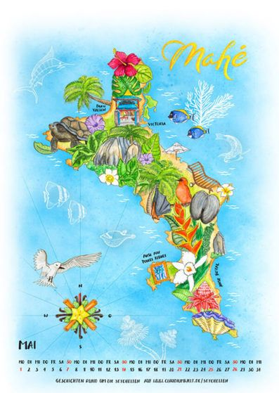 Seychellen Insel Mahe Illustrierte Landkarte Seychelles